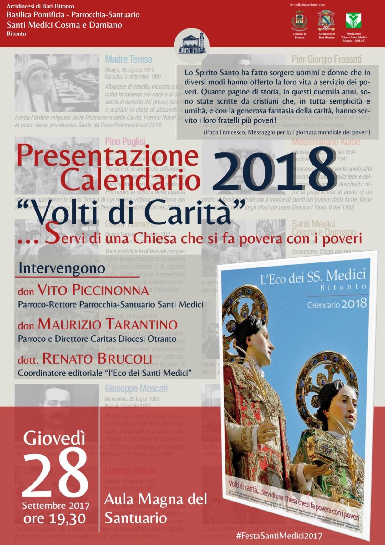 Calendario E Santi.Festa 2017 Presentazione Calendario Santi Medici 2018